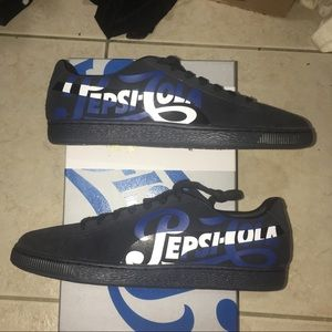 Puma Suede Classic x Pepsi Collab Black Blue Shoes